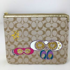 Coach Tablet Case Padded Zipper Gold Signature